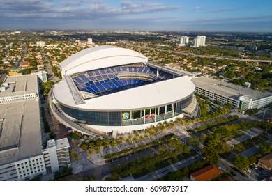 MIAMI, USA - MARCH 20, 2017: Aerial image of Marlins Park Miami Florida USA