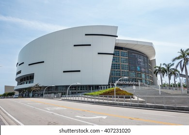 MIAMI, USA - MARCH 21, 2016: The American Airlines Arena, home of the Miami Heat professional basketball team.