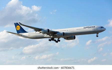 MIAMI, USA - March 24, 2017: A Lufthansa Airbus A340-300 landing at the Miami International Airport.