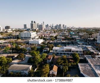 Miami, USA - March 4, 2019: Aerial view of graffiti design district Wynwood in Miami, Florida.