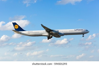 MIAMI, USA - March 6, 2017: A Lufthansa Airbus A340-300 landing at the Miami International Airport.