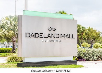 Miami, USA - May 2, 2018: Dadeland Simon Mall on Boulevard or Blvd street sign closeup with text in Dade County