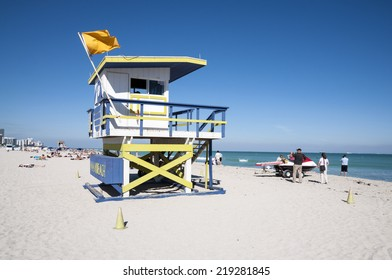 MIAMI, USA - NOV 13: Miami beach wooden lifeguard tower in Art deco style. November 13, 2009 in Miami Beach, Florida, USA