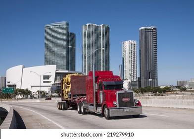 MIAMI, USA - NOV 13: Peterbilt truck on the bridge in Miami. November 13, 2009 in Miami, Florida, USA
