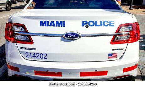 MIAMI, USA - NOVEMBER, 2019: Police car of Miami Police Department (MPD) in Miami, FL, USA.
