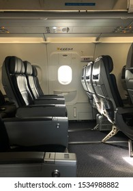 Miami, USA - October 14th 2019: Emergency exit row of an American Airlines A320