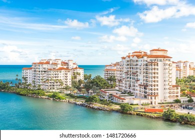 MIAMI, USA - SEPTEMBER 06, 2014 : View of luxury apartments in Fisher Island on September 06, 2014 in Miami.