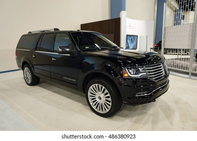 MIAMI, USA - SEPTEMBER 10, 2016: Lincoln Navigator SUV on display during the Miami International Auto Show at the Miami Beach Convention Center.