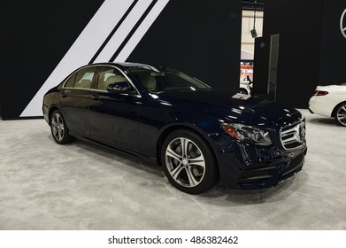 MIAMI, USA - SEPTEMBER 10, 2016: Mercedes E Class sedan on display during the Miami International Auto Show at the Miami Beach Convention Center.