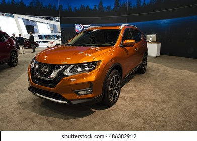 MIAMI, USA - SEPTEMBER 10, 2016: Nissan Rogue on display during the Miami International Auto Show at the Miami Beach Convention Center.