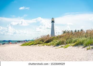 Miami, USA - September 11, 2019: Cape Florida Lighthouse, Key Biscayne, Miami, Florida, USA