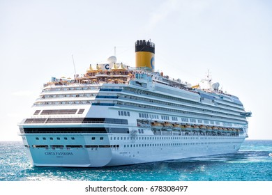 Miami, USA-January 24. 2016: cruise ship Costa Favolosa. Large luxury white cruise ship liner on sea water and cloudy sky background