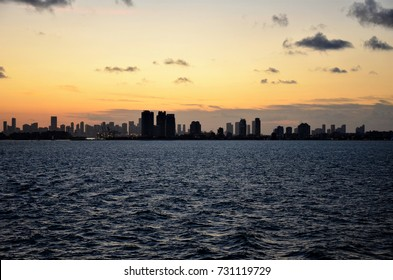 Miami view from the sea at sunset