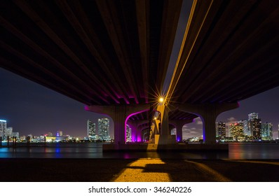 Miami viewed from under the and Macarthur Causeway