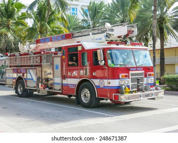 MIAMI,FL  - DECEMBER 2, 2013: Fireman truck on the streets.Firefighters patrol streets of Miami