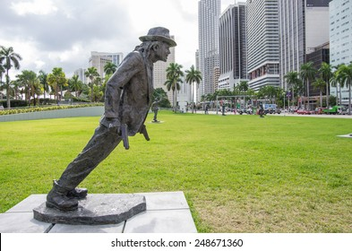 MIAMI,FL - NOVEMBER 29, 2013: Michael Jackson statue in Miami.Michael Jackson was a pop singer and dancer selling millions discs all over the world