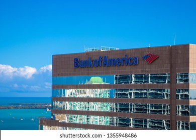 Miami,FL / USA - 03 March 2019: Bank of America logo on building near Brickell Financial district. Bank of America is a banking and financial services corporation.