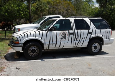 MIAMI,FLORIDA- APRIL 3, 2017 - CHEVROLET BLAZER RANGER CAR FOR A RENT IN LION COUNTRY SAFARI PARK PAINTED AS ZEBRA