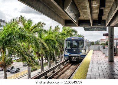 Miami,Fl,USA on 22nd May 2018: Metro rail is a elevated rail transport system the covers the Florida city of Miami with a total of 23 stations. It links to the free Metromover system in the city
