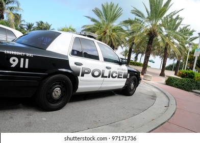 MIAMI-OCT 31:Miami beach police car on October 31, 2010 in Miami,USA.The Miami Beach Police D. is the police department of the U.S. city of Miami Beach, Florida, patrolling the entire Miami Beach area