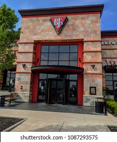 Miamisburg, Ohio - May 9, 2018: Entrance to BJ's Brewhouse in the Austin Landing development located of I-75.