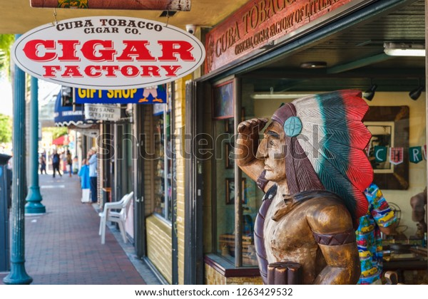 MIAMI,UNITED STATES - DECEMBER 3,2018 : Shop selling cuban cigars at the famous 8th street at Little Havana in Miami