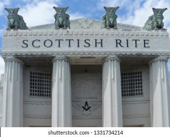 Miami/USA - April 17 2016: Scottish Rite headquarters in Miami, Florida. The Scottish Rite is one of several Rites of Freemasonry.