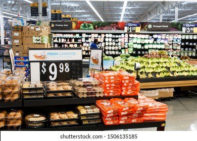 Miami/USA - April, 25 2019: Rows with products in Walmart. Walmart Inc. is an American multinational retail corporation  operates a chain of hypermarkets, discount department stores and grocery stores