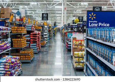 Miami/USA - April, 25 2019:Rows with products in Walmart. Walmart Inc. is an American multinational retail corporation  operates a chain of hypermarkets, discount department stores, and grocery stores