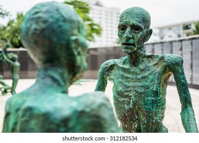 MIAMI,USA - JULY 31, 2015 : Detail of the Holocaust Memorial on Miami Beach