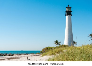 Miami,USA-march 15,2018:Key Biscayne lighthouse south of Miami during a sunny day.
