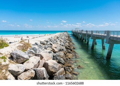 Miami,USA-march 15,2018:view of the south point park pier during a sunny day.
