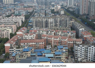 mianyang,china-Mar 11,2018:gutter area with blue roof.