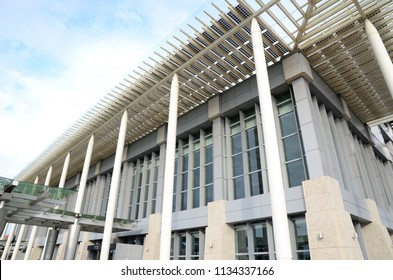 Miaoli county, Taiwan-June 19, 2018: Exterior view on Miaoli Station of Taiwan High Speed Rail