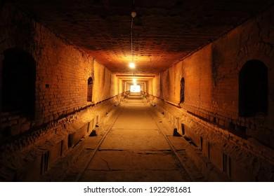 "Miaoli County,Taiwan - Jan 5th,2021: The earliest tunnel kiln factory in Miaoli County, ""Jinliangxing"", is known for firing ""JLS"" red bricks from the weathered shale of Huoyan Mountain."