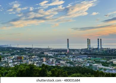 Miaoli, Taiwan- Jun 18, 2016: Thermal Power Plant and Wind Farm by the Ocean