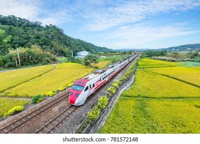 Miaoli, Taiwan - November 12: train on the field in miaoli, taiwan
