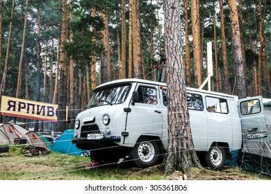 MIASS, RUSSIA - JUNE 12, 2009: Motor car UAZ 2206 in the forest.