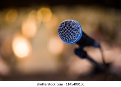 Mic and bokeh background, Seminar background, Meeting background.