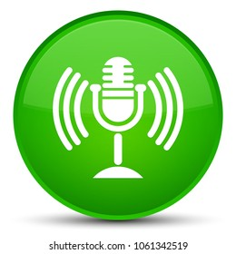 Mic icon isolated on special green round button abstract illustration