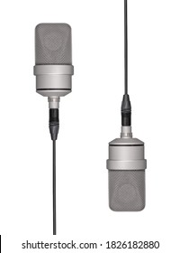 Mic - Two Professional Large-diaphragm Microphone hanging from a long cable. Isolated white background
