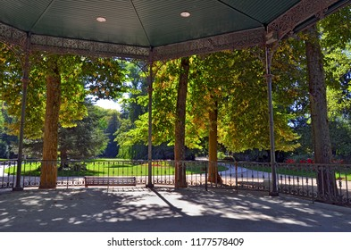 The Micaud public parc seen from the music kiosk in Besancon, France