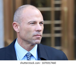 Michael Avenatti holds a press conference after leaving federal court on April 16, 2018, in New York.