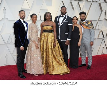 Michael B. Jordan, Letitia Wright, Danai Gurira, Winston Duke, Zinzi Evans, Ryan Coogler at the 91st Annual Academy Awards held at the Hollywood and Highland in Los Angeles, USA on February 24, 2019.