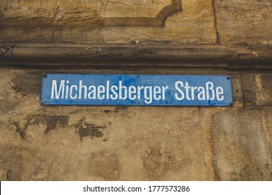 Michael Berger Strasse (eng. Michael Berger Street) street name sign in Bamberg, Bavaria, Germany. A street name sign is a sign used to identify named roads