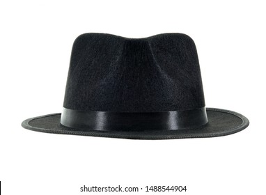 Michael Jackson black fedora hat isolated on a white background.