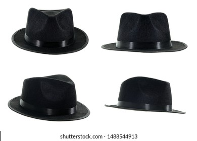 Michael Jackson black fedora hat isolated on a white background.