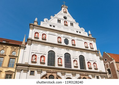 Michaelskirche (St. Michael Kirche) - Facade of the church of St. Michael the Archangel in the historical center of Munich, Bavaria, Germany