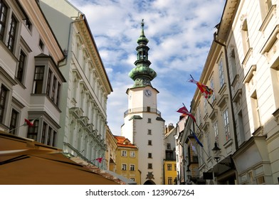 Michalska street and Saint Michael's Gate. Old Town, Bratislava. Slovakia.
