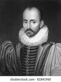 Michel de Montaigne (1533-1592). Engraved by C.E.Wagstaff and published in The Gallery Of Portraits With Memoirs encyclopedia, United Kingdom, 1833.